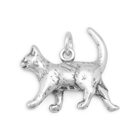 Walking Cat Sterling SIlver Charm