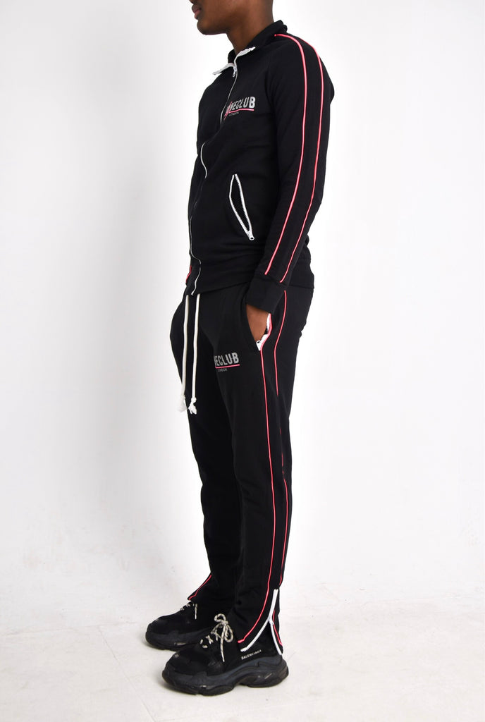 GC MEN'S REFLECTIVE ZIP UP TRACKSUIT - BLACK/PINK