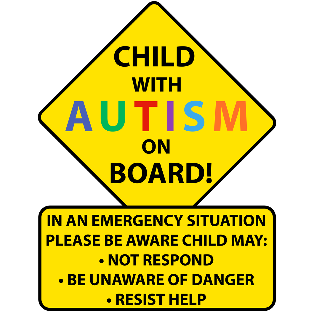Child With Autism On Board Sticker