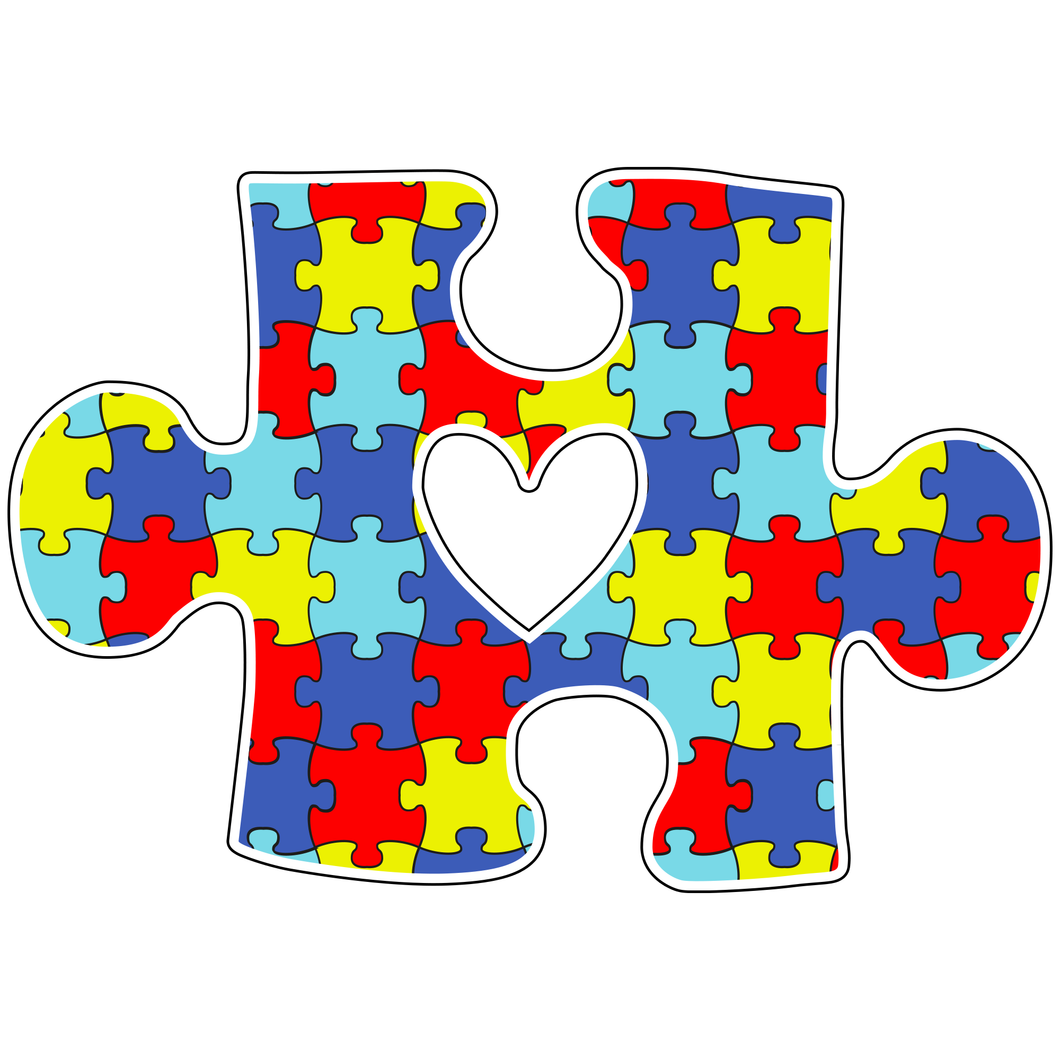 Puzzle Piece With Heart Autism Sticker