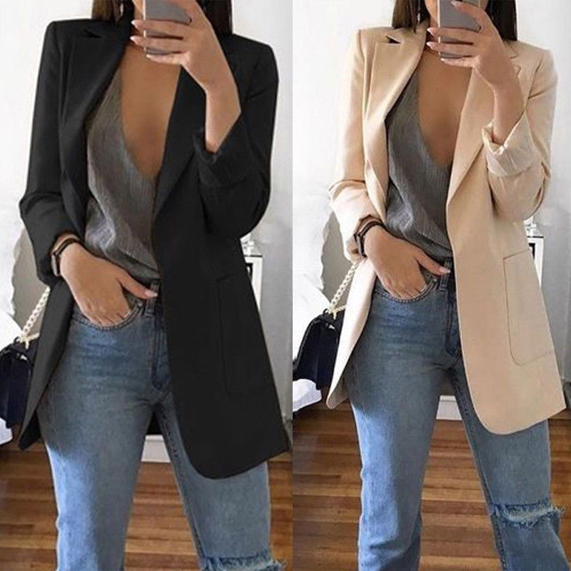 2019 New Women's Blazers Spring Autumn Long Sleeve Casual Sexy Lapel C – Q8  Store