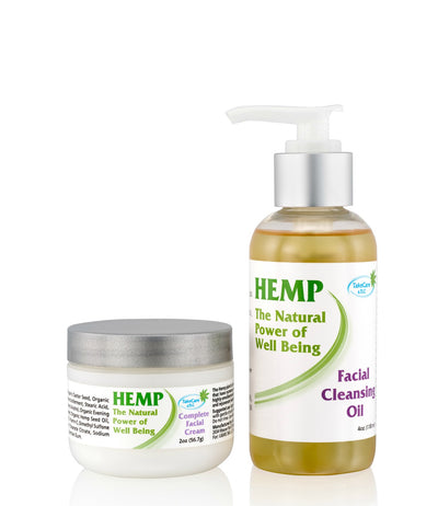 Hemp Seed Oil Skin Care Kit with Facial Cleanser and Moisturizer Cream