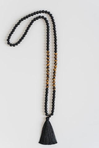 The I Am Strong handmade crystal mala for grounding and anxiety relief using Tiger's Eye and Black Obsidian mala beads.