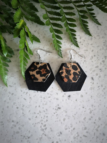 Double Hexagon Dangle Earring