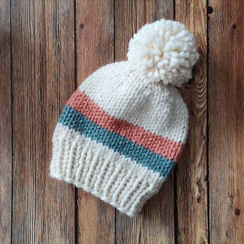 Double Stripe Vintage Vibe Knit Toque with Giant Yarn Pom