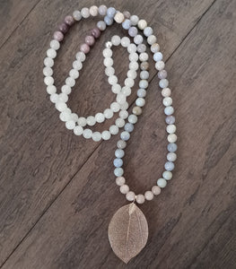 Rose gold leaf mala