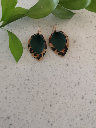 Leopard print with forest green dangle earrings