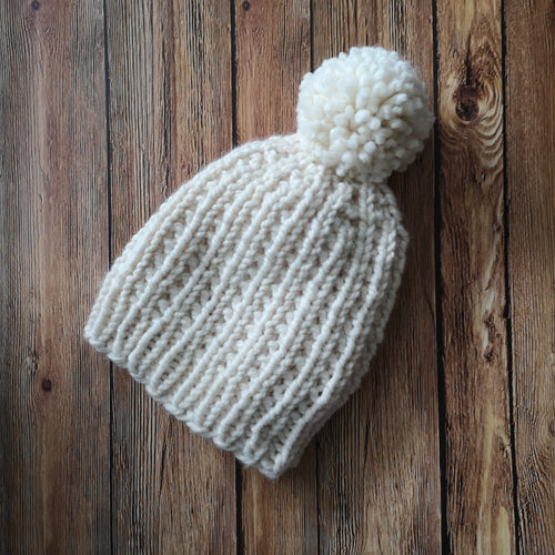 Winter Princess Slouchy Knit Hat with Giant Yarn Pom