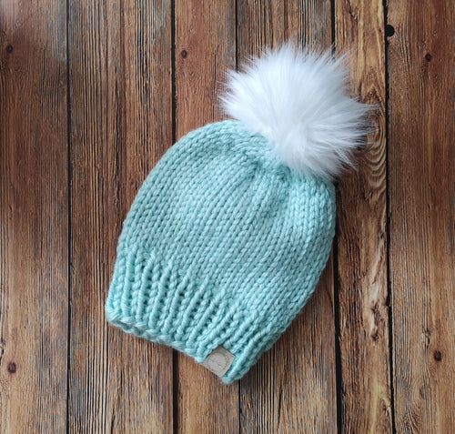 Chunky Knit Toque with Faux Fur Pom Pom