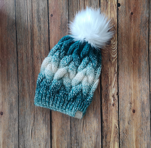 Braided Ombre Beanie with Faux Fur Pom Pom