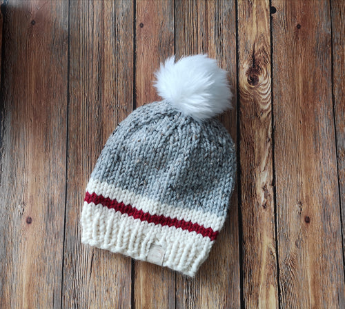 Cozy Cabin Knit Toque with Faux Fur Pom Pom