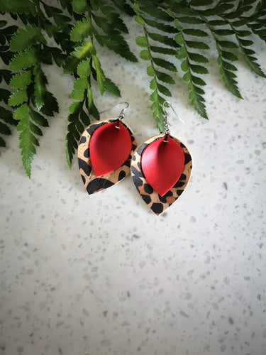 Leopard print + Red dangle earrings