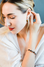 Load image into Gallery viewer, Bee Dangle Earrings featuring Swarovski Gem