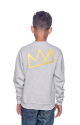 FroBabies 3D Melanin King Embroidered Patch Sweatshirt - Grey