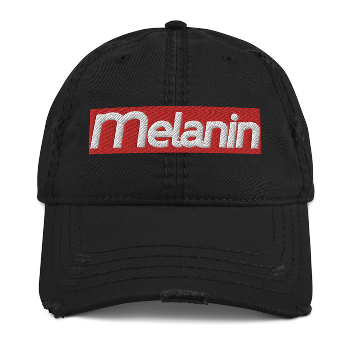 Melanin Red Distressed Dad Hat