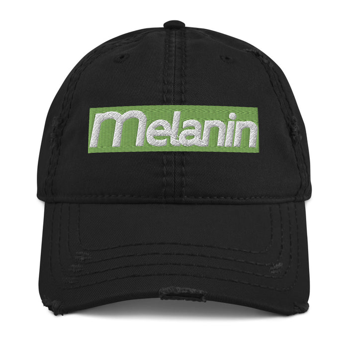 Melanin Green Distressed Dad Hat