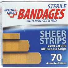 Load image into Gallery viewer, 10 pk Health Smart Sheer Strips Bandages With Non Stick Pad 70 In Each Box