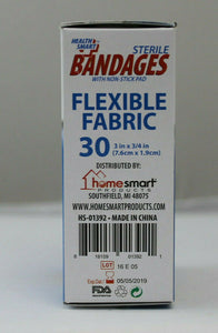 10 pk Health Smart Sheer Strips Bandages With Non Stick Pad 30 In Each Box