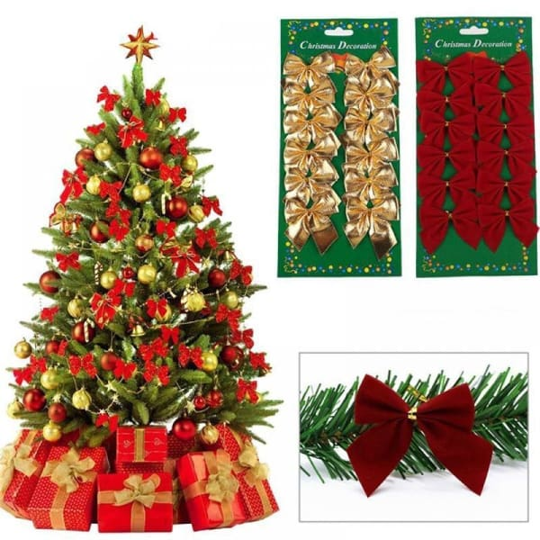 12 PCS XMAS Tree Decorative Bowknots - ValasMall
