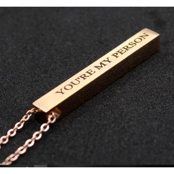 Engraved 3D Custom Name Bar Necklace - Rose Gold