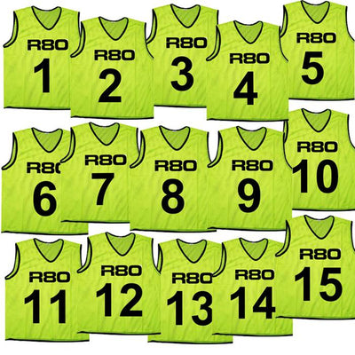 Set of 15 Yellow High Vis Numbered Bibs