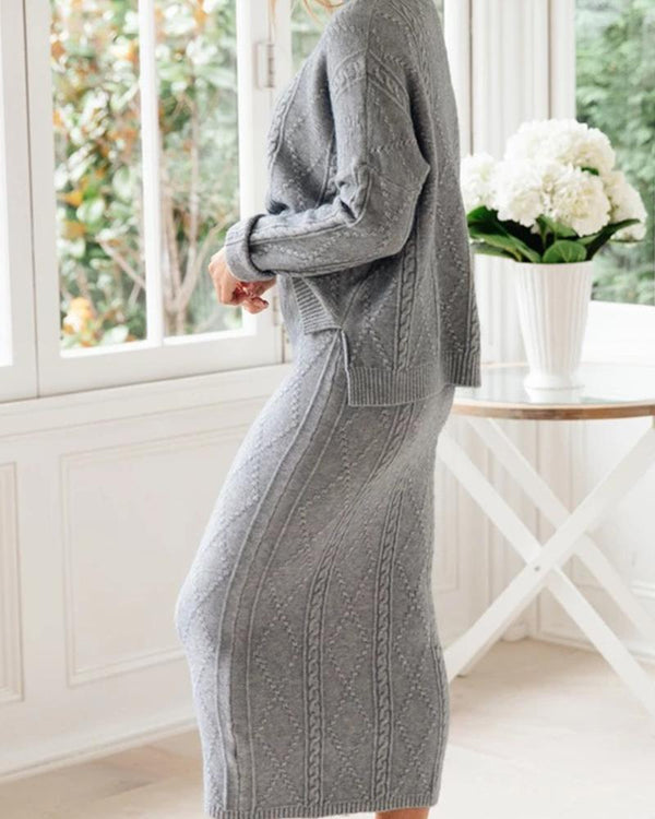 High Neck Casual Sweater + Maxi Skirt Set
