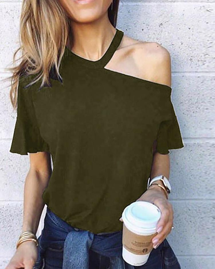 Cut Out Shoulder Casual T-Shirt