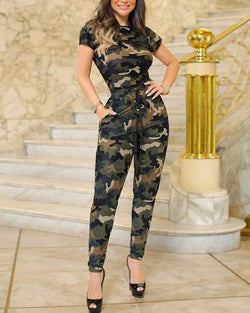 Camouflage Short Sleeve Top & Pant Sets