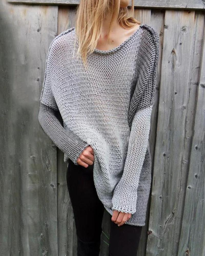 Contrast Color Loose Knit Sweater