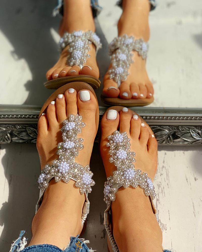 Beaded Design Toe Post Casual Sandals