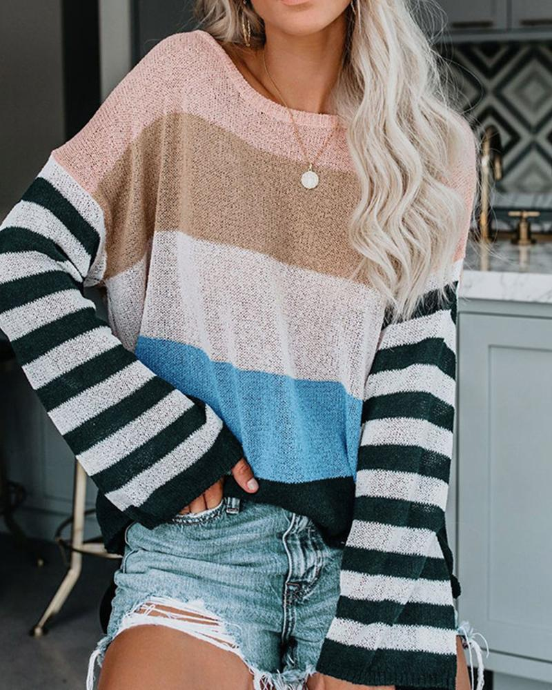 Striped Loose Pullover Sweater
