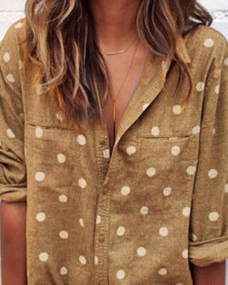 Pocket Polka Dot Shirt