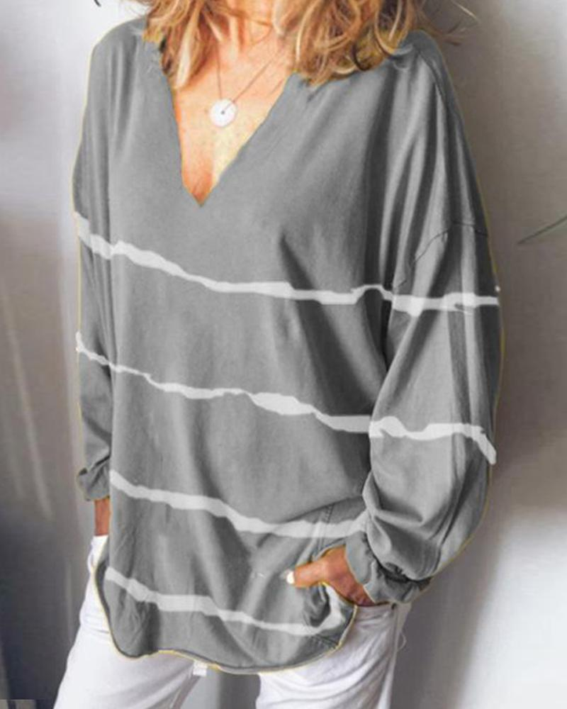 Striped V Neck Long Sleeve Loose Tops
