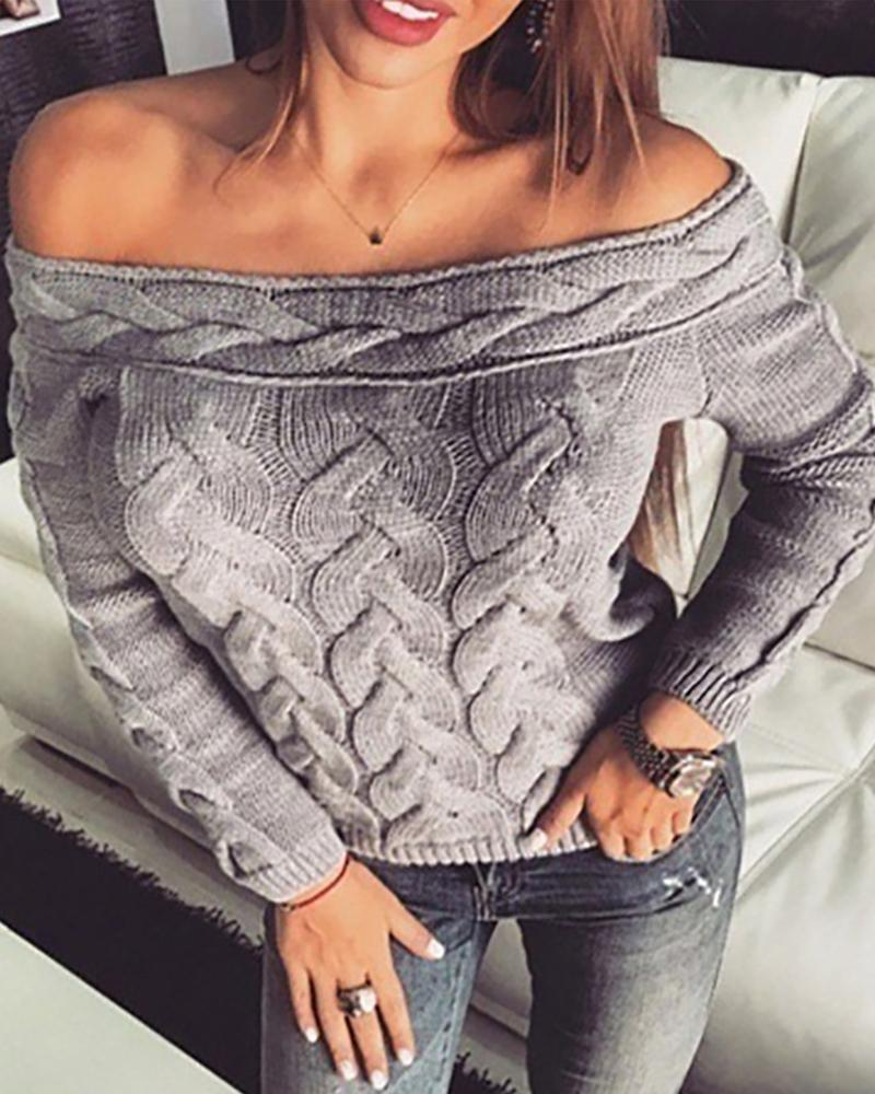 Off Shoulder Long Sleeve Knit Sweater