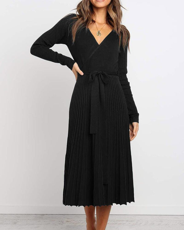 V Neck Pleated Midi Dress