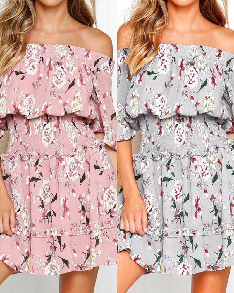 Cropped Sleeves High Waist Chiffon Floral Dress