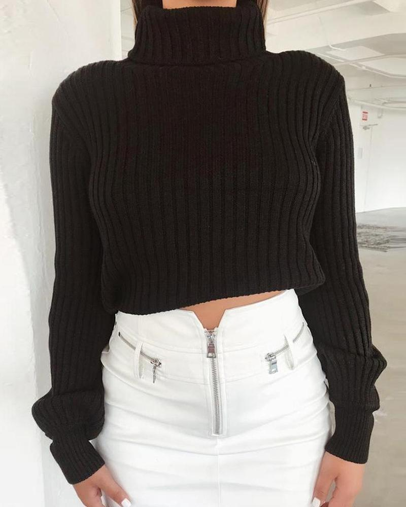 High Neck Sweater Crop Top