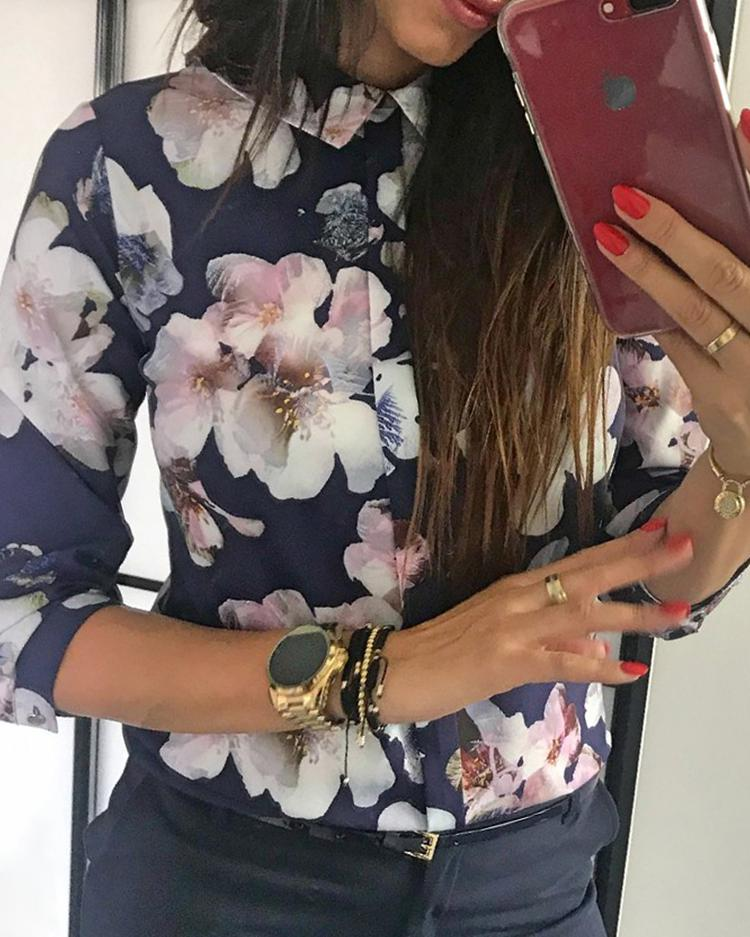 Floral Print Button Design Long Sleeve Blouse