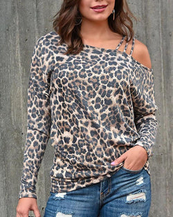 One Shoulder Leopard Print Blouse
