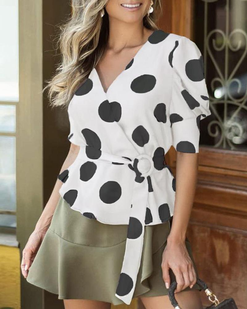 V Neck Polka Dot Wrap Top