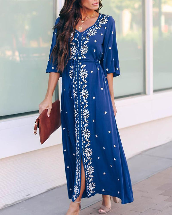 Embroidered Robes With Beach Bohemiah Maxi Dress
