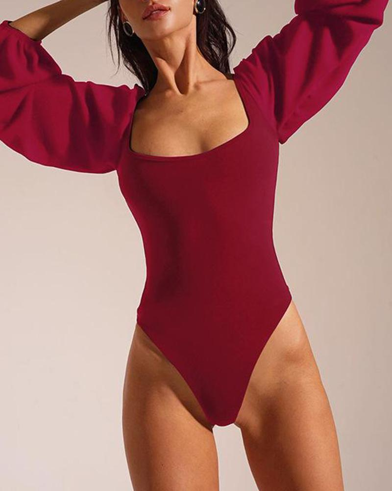 Square Neck Long Sleeve Bodysuit