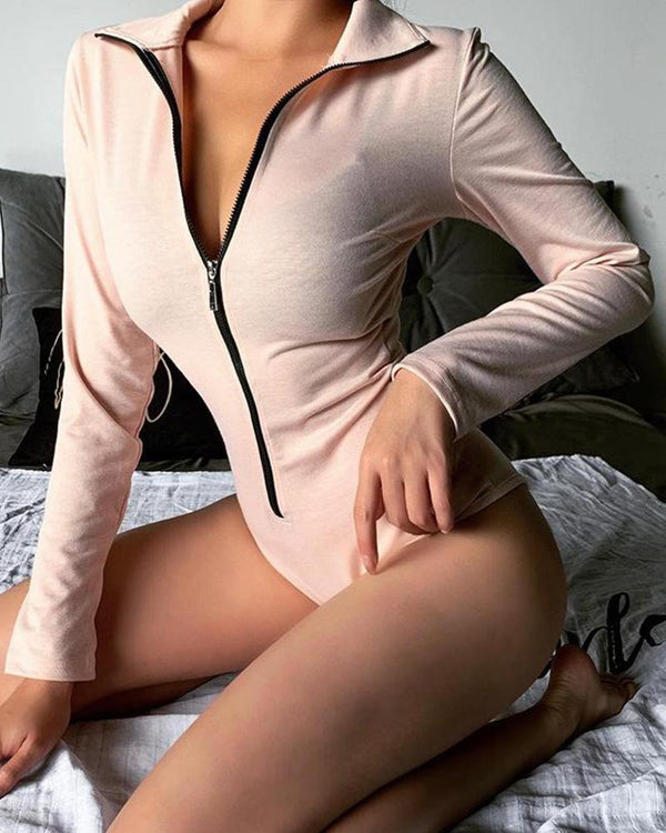 Solid Full Zip Skinny Bodysuit