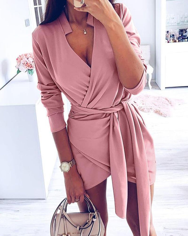 Solid Tie Waist Mini Wrap Dress