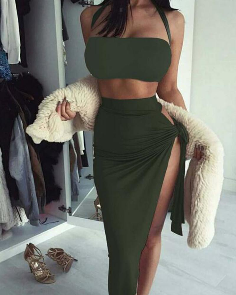 Halter Cut Out Asymmetric Dress