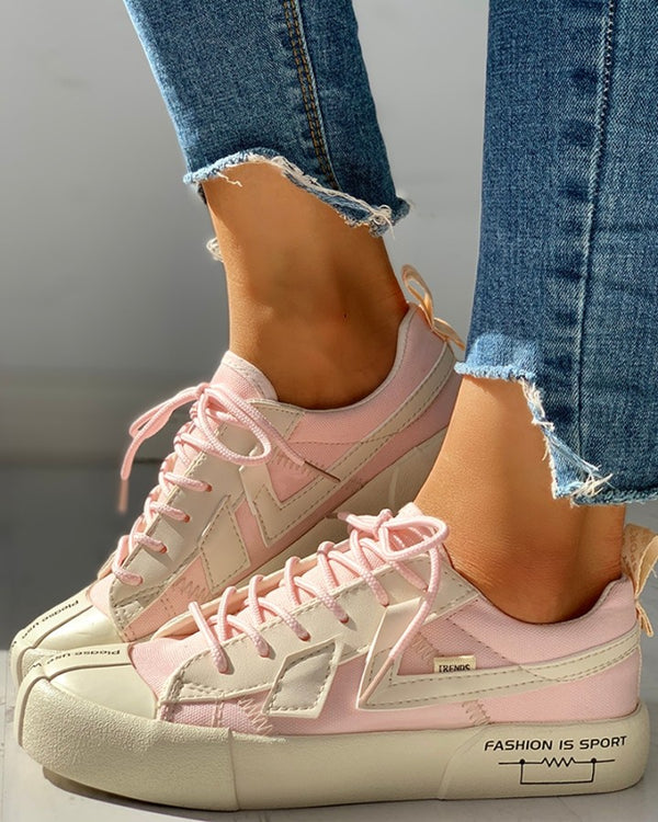 Eyelet Lace-Up Patchwork Casual Sneakers