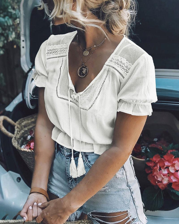 Short Sleeve Lace V-neck Tassel Waist Crop Top