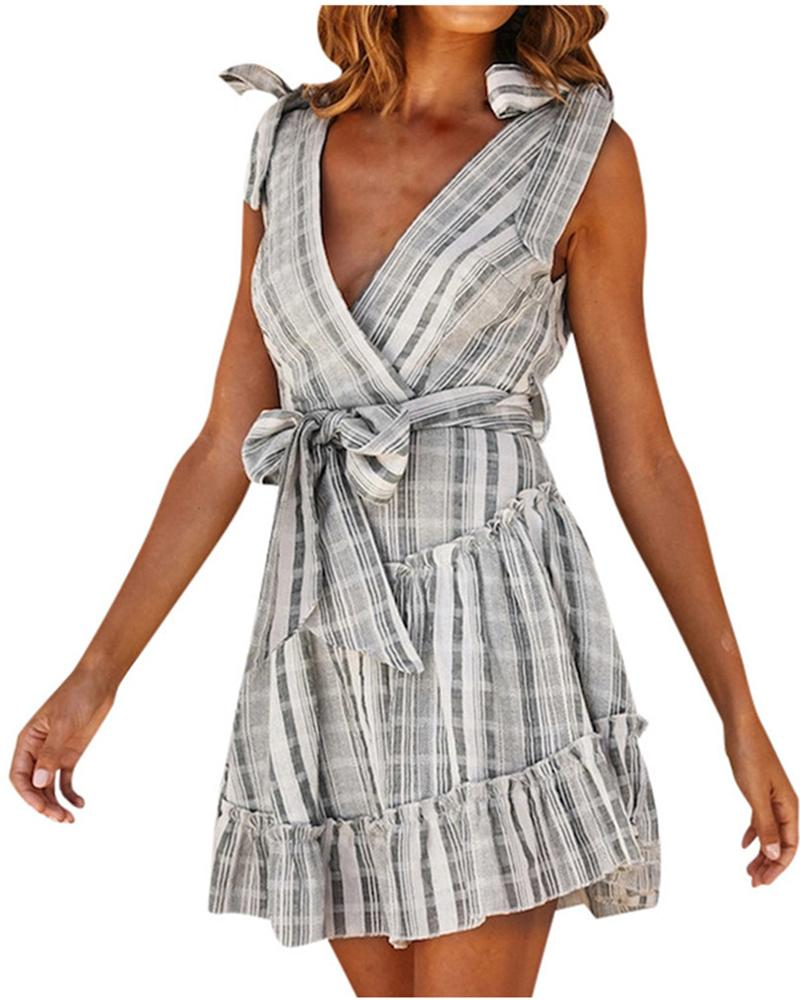 Striped Sleeveless nd Strapless Mini dress