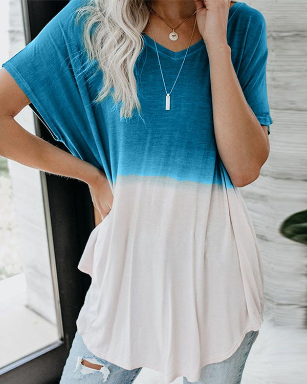 Gradient Color Short Sleeve T-shirt