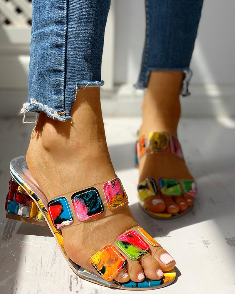Colorful Geo Applique Chunky Heeled Sandals
